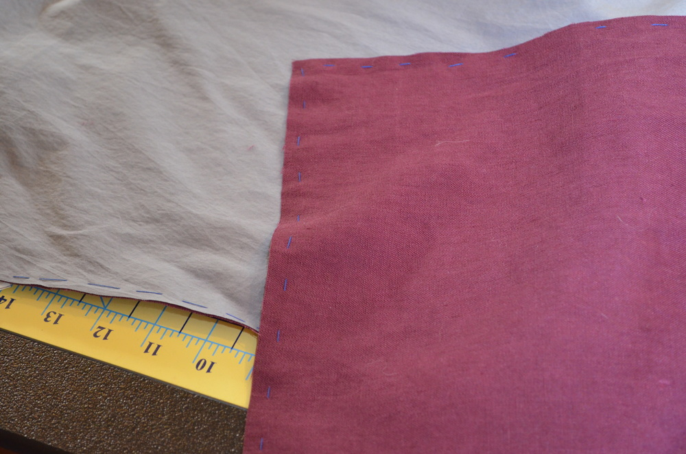 Burgundy linen underlined with gray voile.