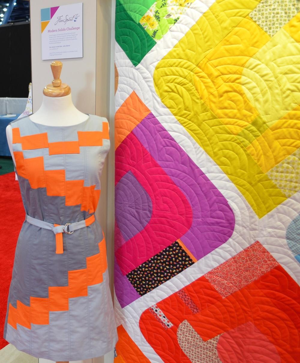 A quilt/dress made of Free Spirit solids.