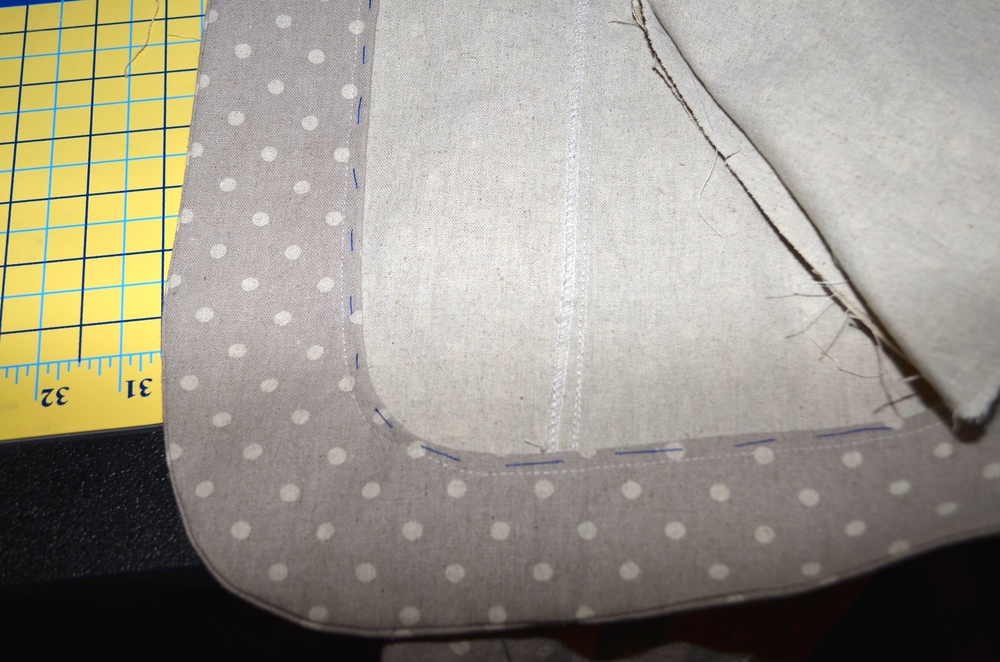 I also basted the facing from the wrong side so it would lay flat and be marked on the front.