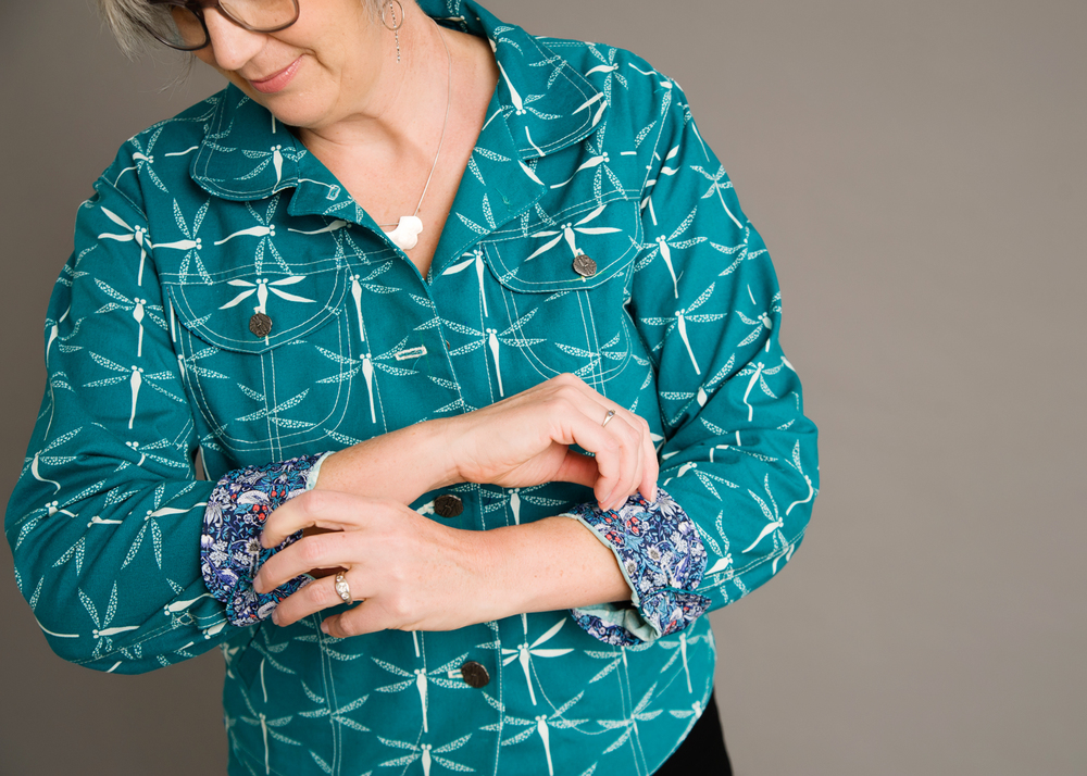 I lined the cuffs and the yoke with Liberty Lawn. Photo by Andrea Jones.