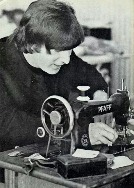 John Lennon sewing! What could be better?