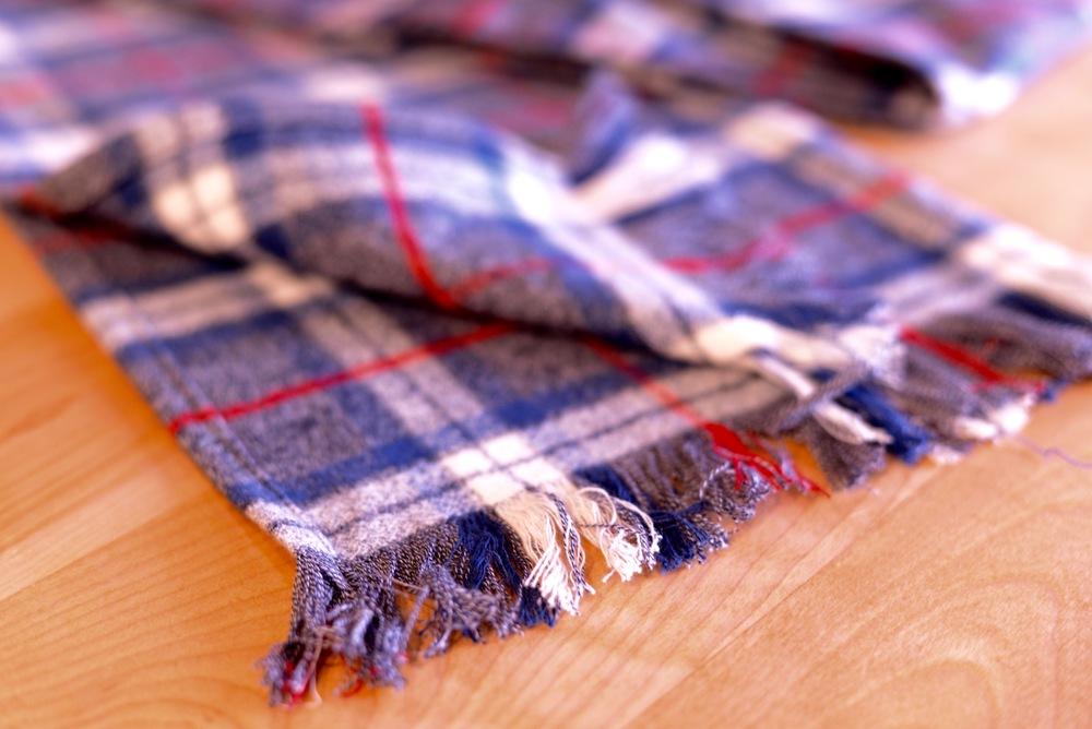 Handmade scarf made from Robert Kauffman plaid flannel.