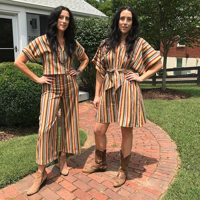 YIKES STRIPES ✨❤️✨ thanks to our gal @ola_mai for making these matching outfits for our @newportfolkfest debut!!!