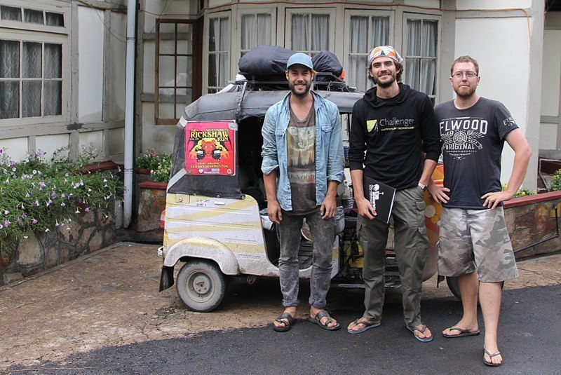 Ron, Adam and Ben in Shillong at the end of the Rickshaw Run: