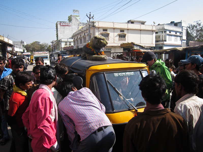 Indian crowds are always a breeze to drive a rickshaw through.