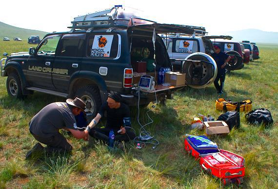 Prometheus Medic James Hubbard in action on the Mongol Derby 2013