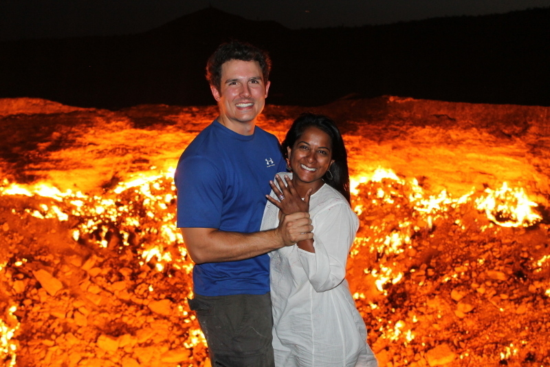 Aruna and Sebastian from Mongol Rally 2012 team Canuk the Dots get engaged at The Gates of Hell Turkmenistan