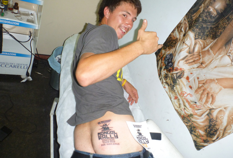 Cristian Testa - Mongol Rally Tattoo - Team Proverbial Do Gooders 2012