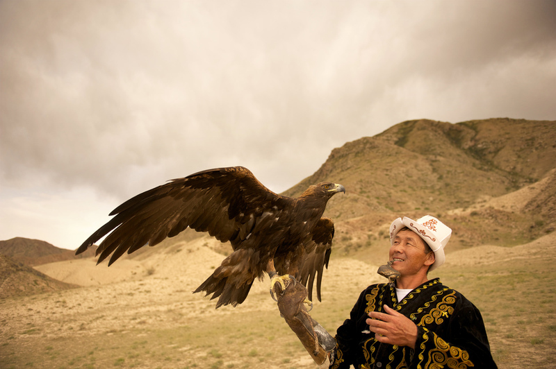 A traditional Kyrgyz eagle hunter