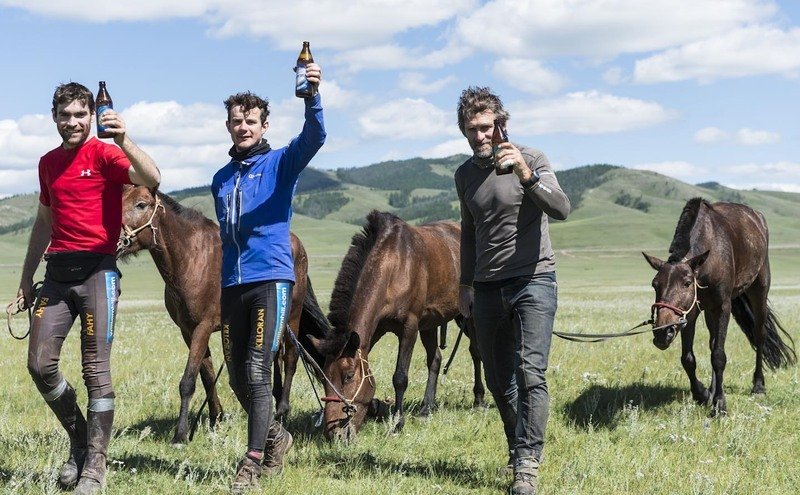 First 3 to cross the line of the Mongol Derby 2012 celebrate with beers