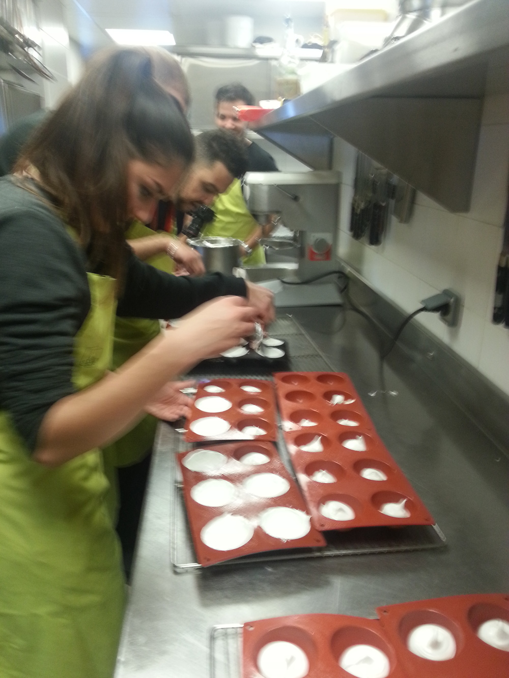 loading the meringue into moulds