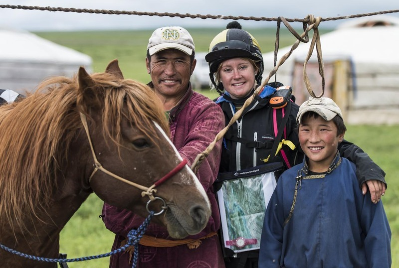 Charlotte Treleaven with the local herdsman and his son at Horse Station 11 -  Monday 13th August  ©Richard Dunwoody