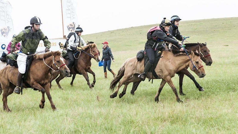 Mongol Derby riders thunder over the start line on Friday 10th August