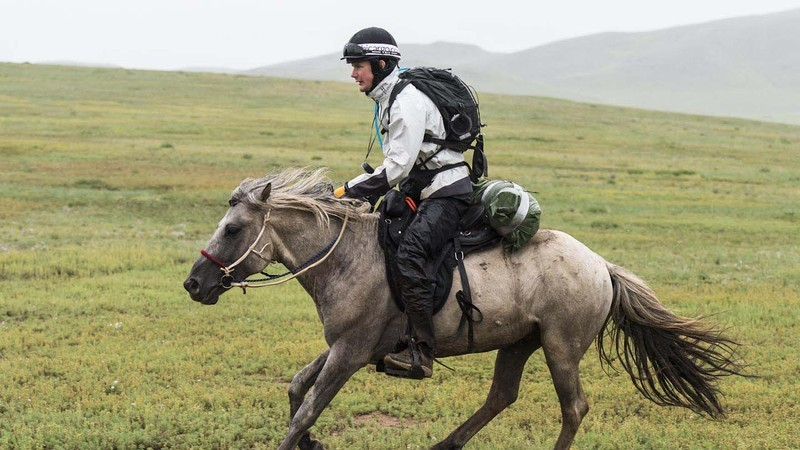 Professional jump jockey Richie Killoran on leg 2 of the Mongol Derby: