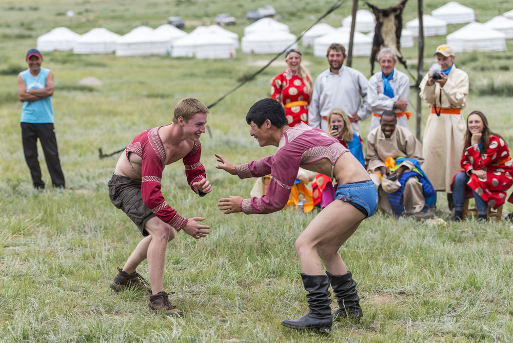 Rider James Johnston puts in a good performance in a Mongolian wrestling bout at the Derby Awards Ceremony, 14th Aug 2013