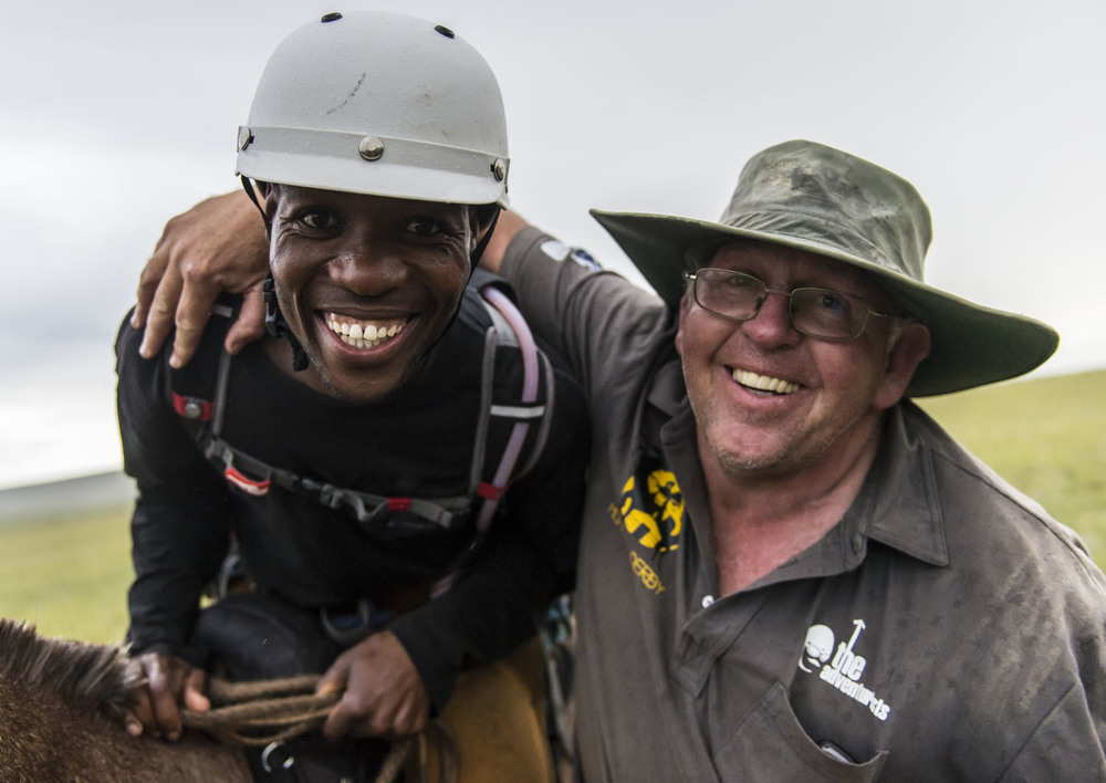 Mondi Kanyana with vet Peter Domett after completing the Mongol Derby, 12th Aug 2013