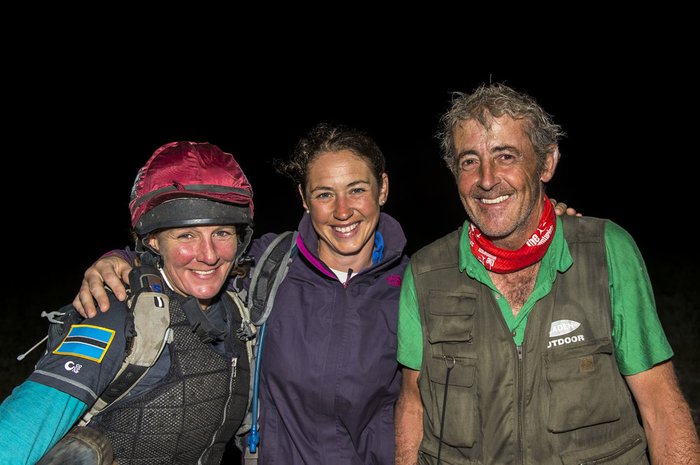 Alex Embiricos and Anthony Ward-Thomas with third placed rider Clare Twemlow after finishing the Mongol Derby, 12th Aug 2013