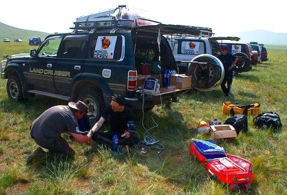 Mongol Derby 2013 – Day 8 Prometheus Medical treating a rider