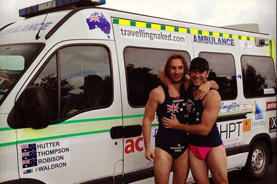 Dylan & Dalbs doing the 2012 Mongol Rally in 'budgie smugglers'