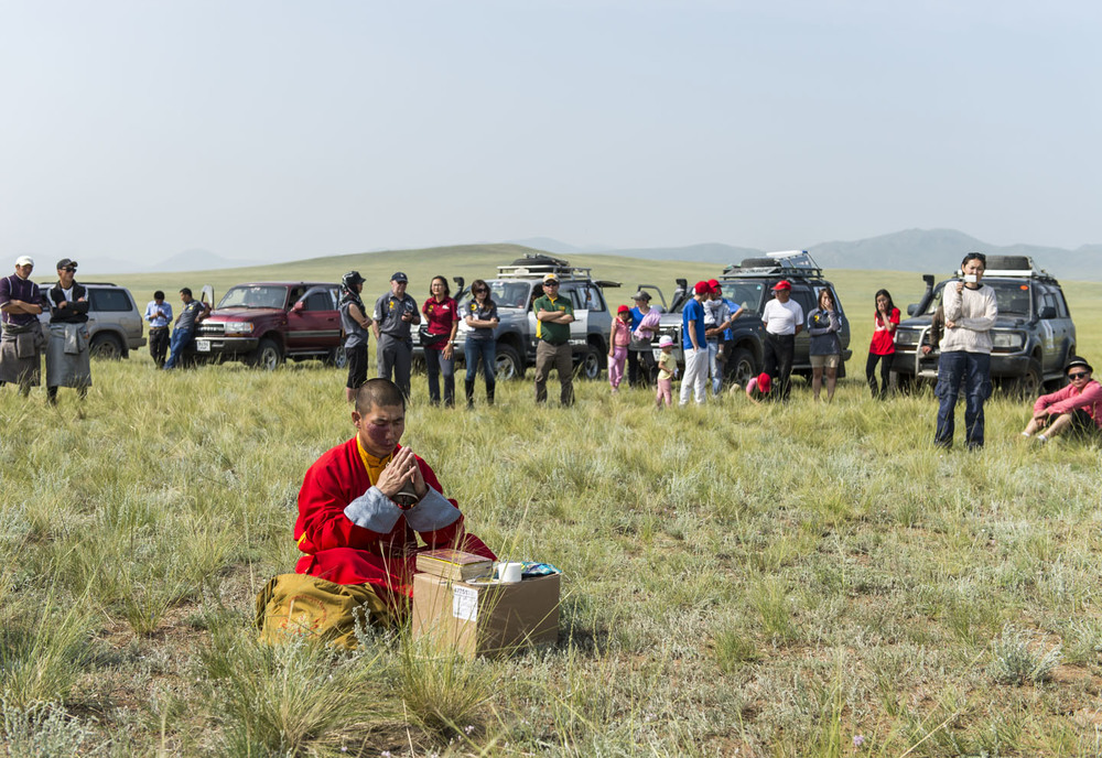 A Lama blesses the riders at the start of the Mongol Derby, 4th August 2013