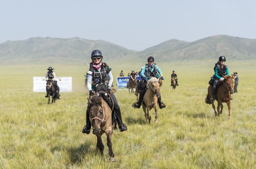 Barbara Seele leads the way at the start of the Mongol Derby, 4th August 2013