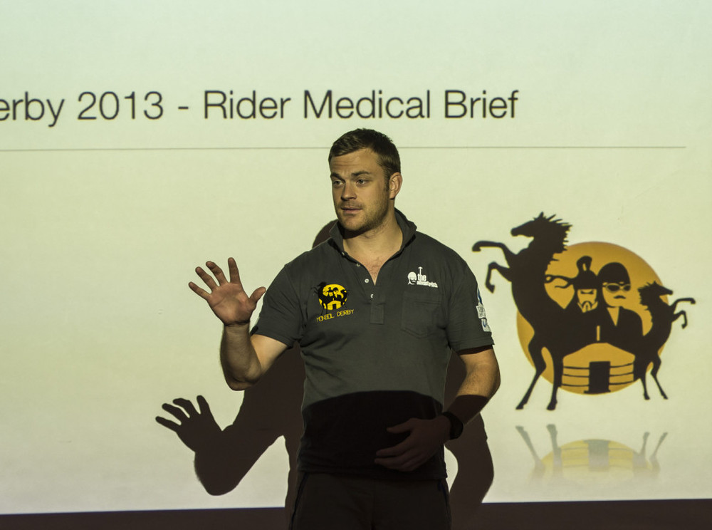 Dr Chris Abbott, one of the race medics from Prometheus Medical presents to the Mongol Derby riders