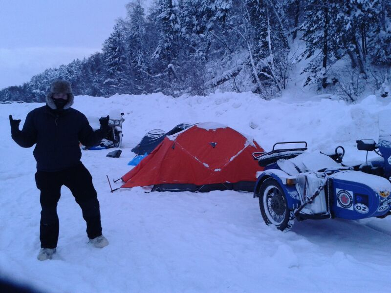 Chris Plough, Sam & Mo camping at minus 42. Ouch