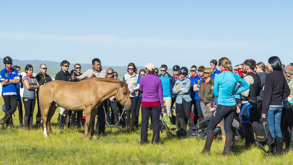 Unenburen lectures the riders on Mongolian horse management