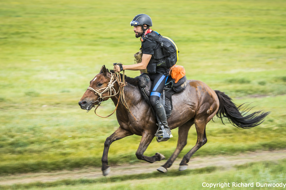 Musse Hasselvall covers the ground on leg 12 in the AST Mongol Derby Photo of the Day