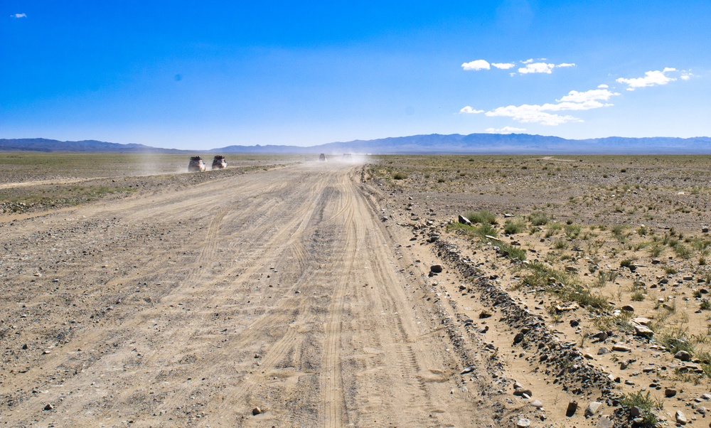 Team 138s chasing their convoy across the steppe