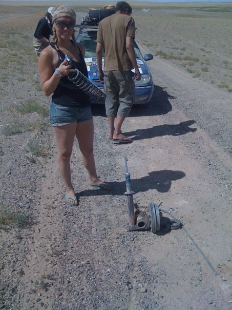 A roadside botch job of fixing the suspension