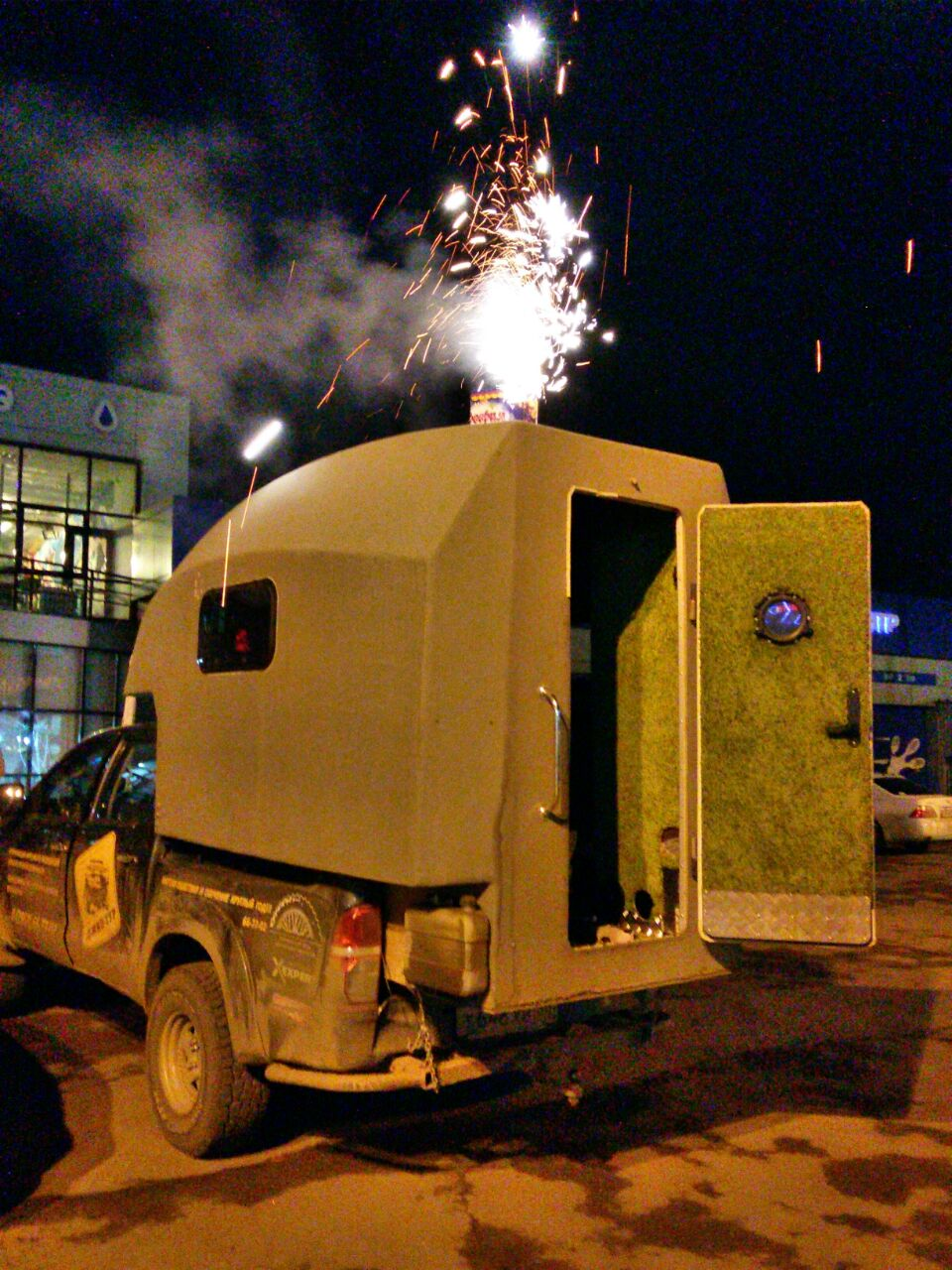 Fireworks from the support truck