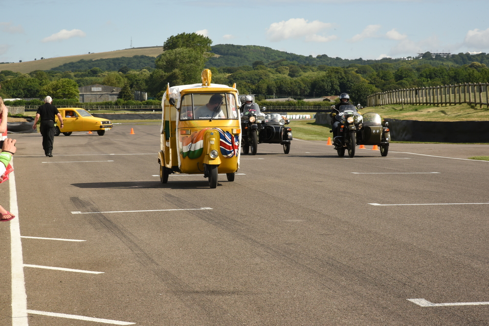 The 145cc rickshaw jumps the gun to pull ahead of the 600cc Urals