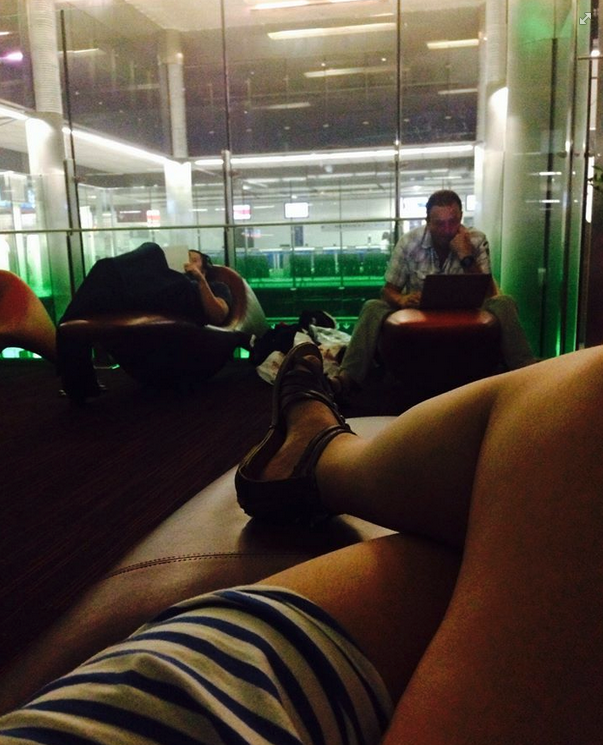 Mia has swapped a Renault Clio for a sofa in Charles de Gaulle airport. Might be a better nights sleep.