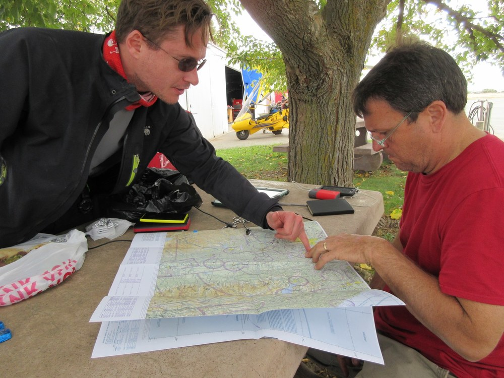 Hans, left and Don, Mongol Rally veterans planning their Icarus route.