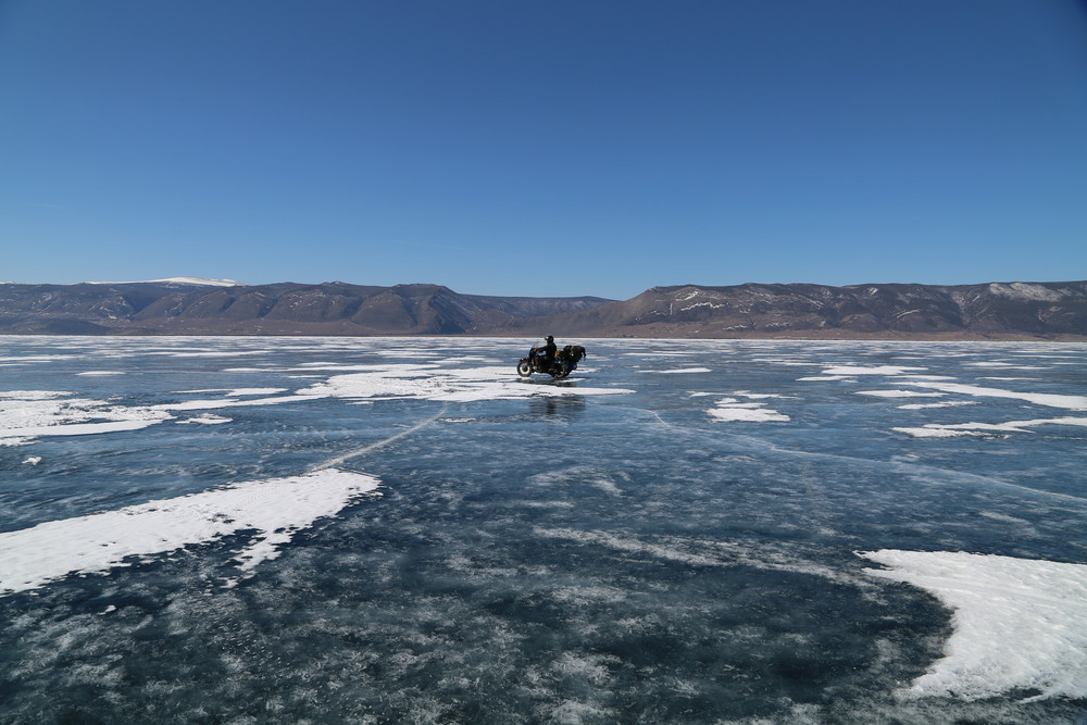 Riding some smooth ice on the road to Severabaikalsk