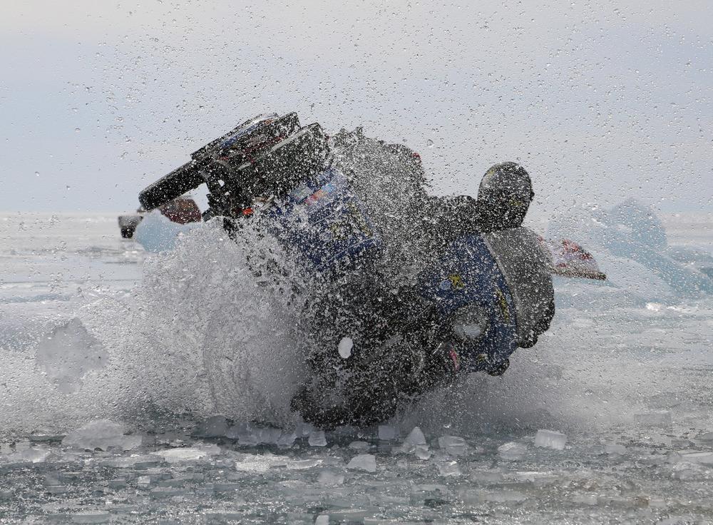 Hugh crashing through the ice jumping a 'ride up'