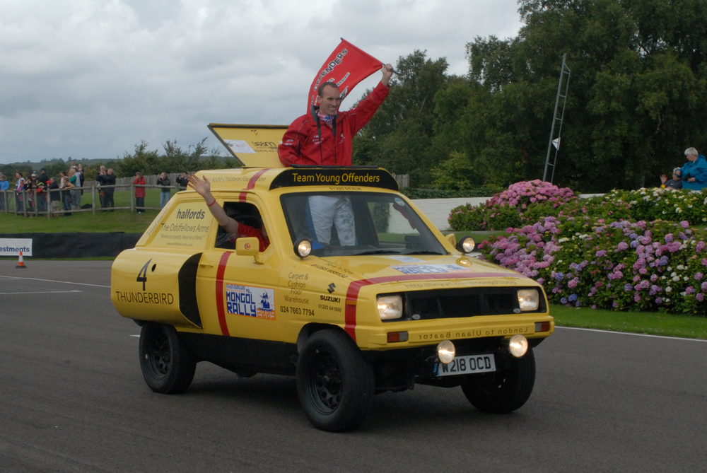 This is how to get past the 1l rule. Skin a Reliant Robin and use it to give your car a costume. This is a Jimny with a 1298cc.