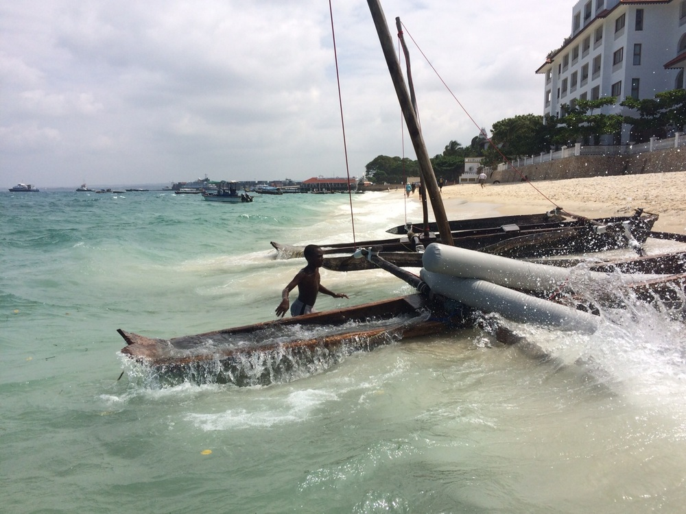 The boats washed up on Zanzibar Beach took a pounding