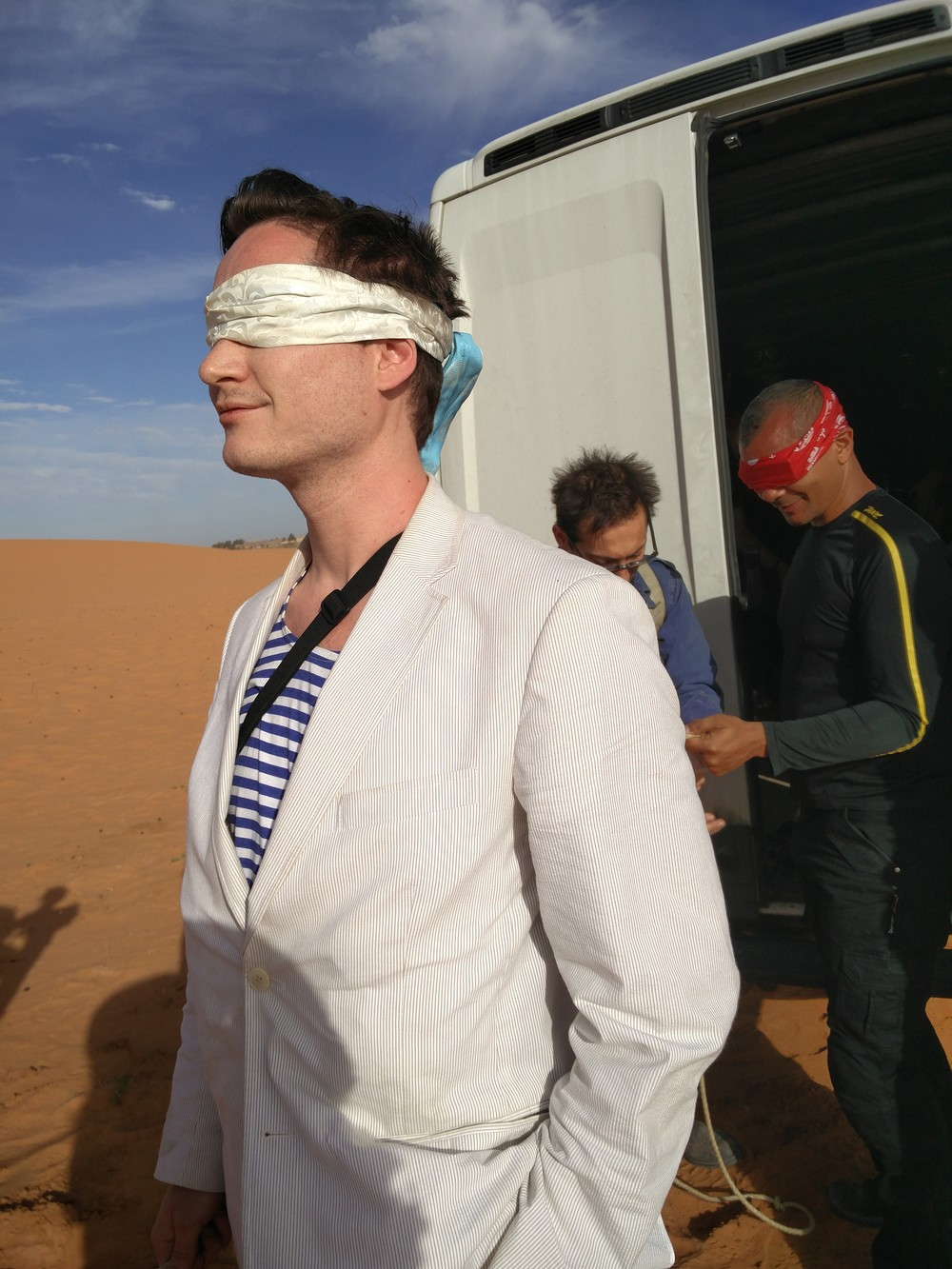 Blindfolded and taken into the desert