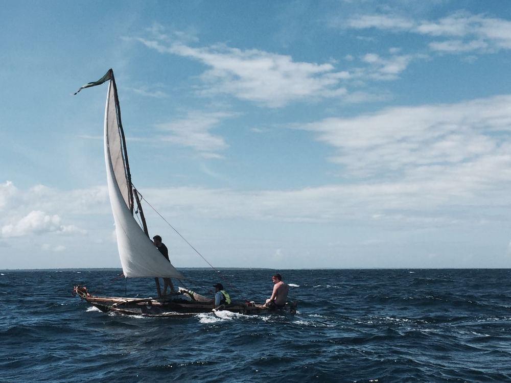 Usain Boat sailing towards Zanzibar