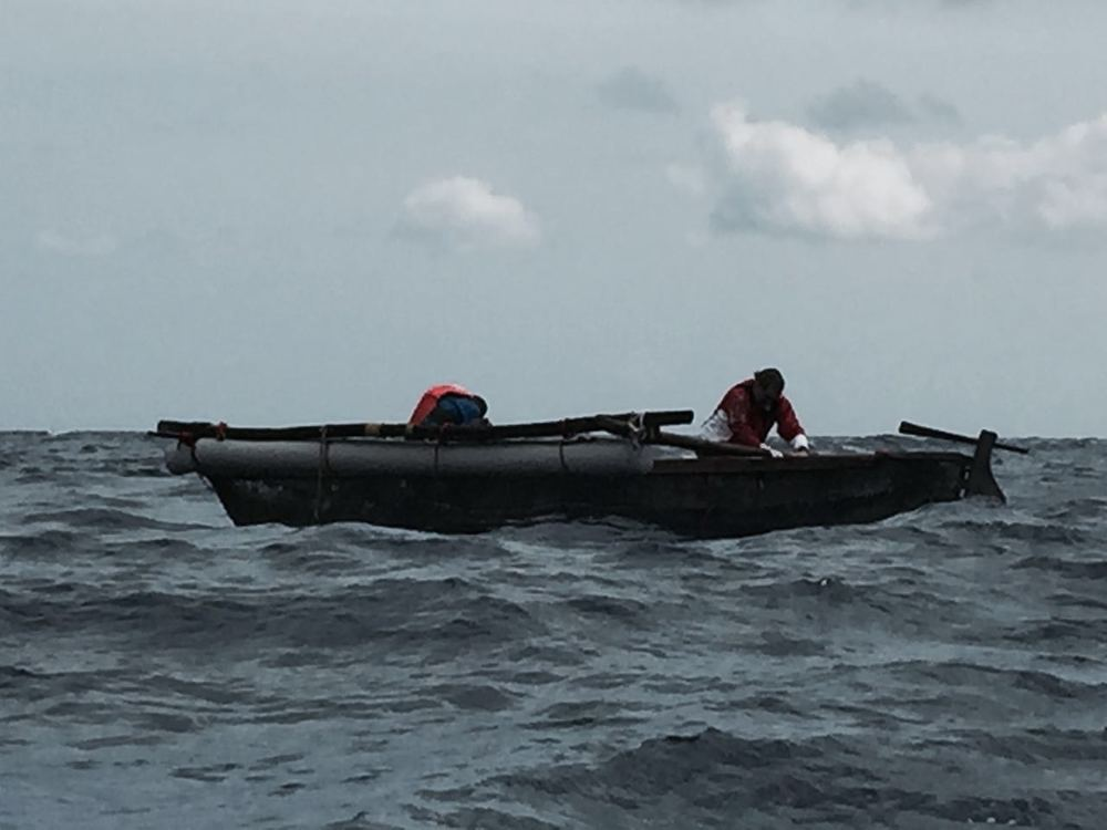Fakawi being rescued after capsize