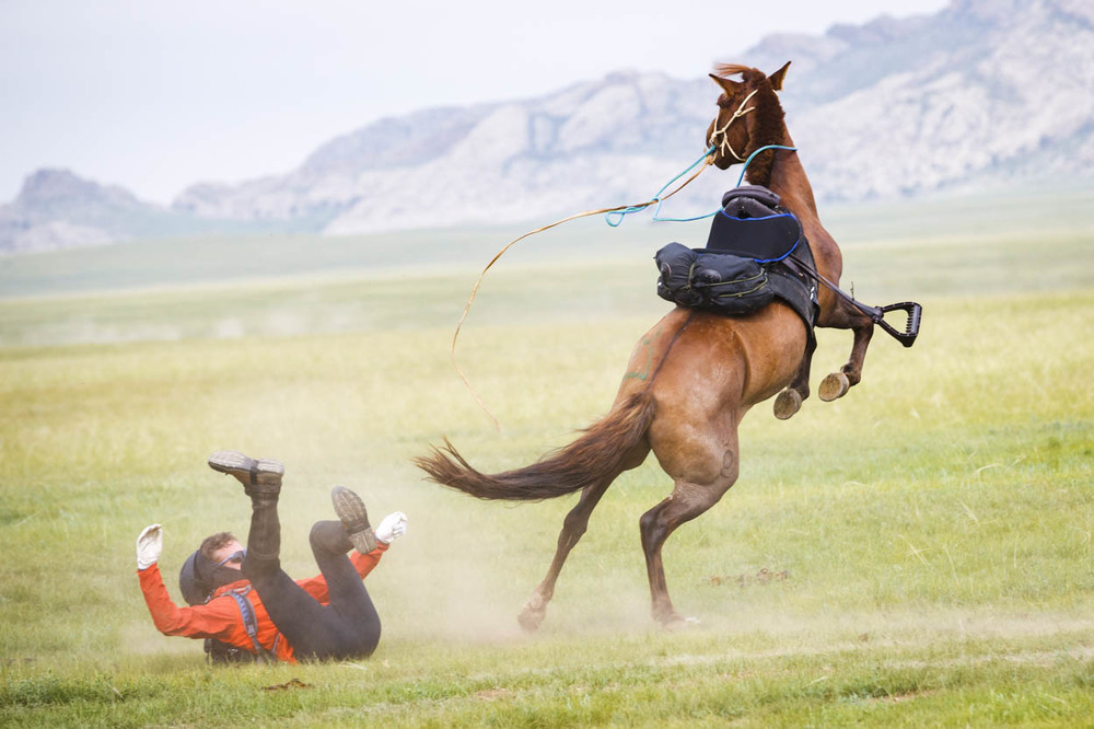 Anthony Strange falling off before the start of the Mongol Derby