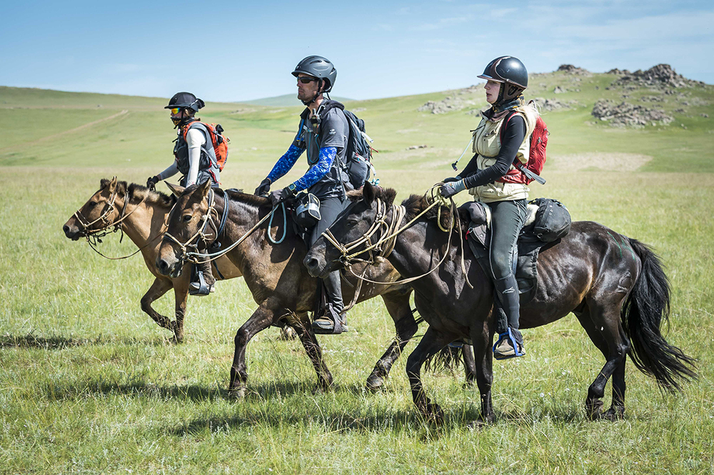 From left, Rosie Bathurst, Francisco Schnaa and Anna Christina De Jonquieres ride out from Urtuu 10
