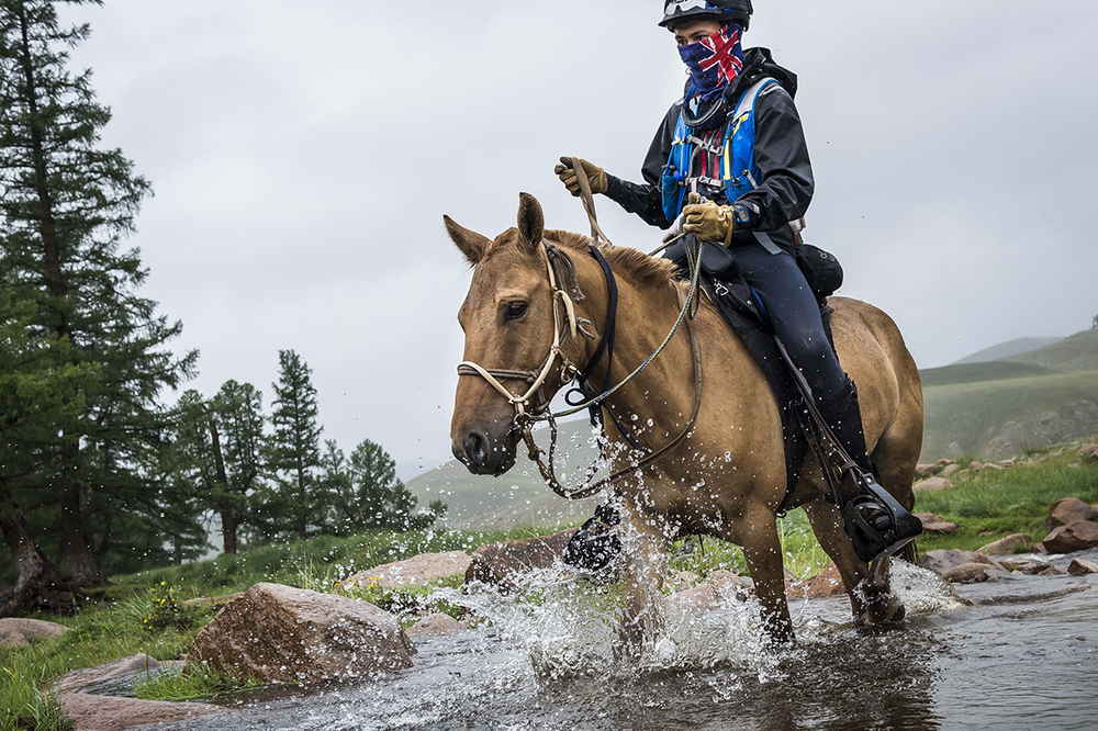 Shannon Nott crossing one of the many rivers on the way to Urtuu 19  Photo by Richard Dunwoody for Mongol Derby