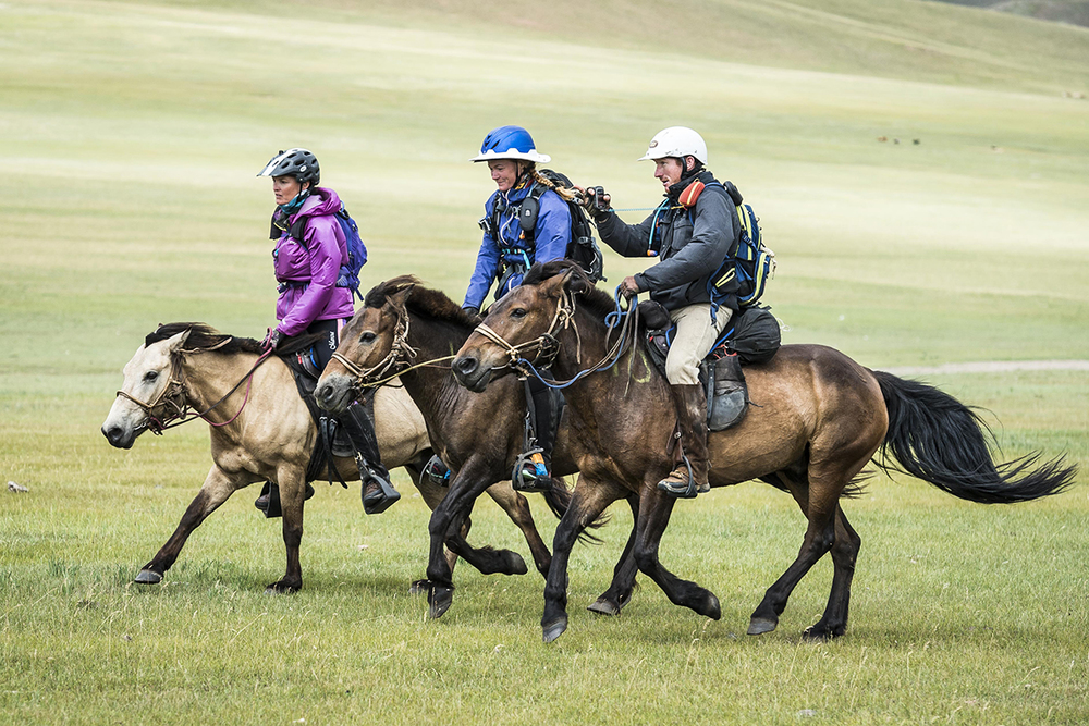 The leaders of the day, Marcia Hefker-Miles, Heidi Telstad and Will Comiskey finished the day at Urtuu 27. Just one leg to go to the finish  Photo by Richard Dunwoody for Mongol Derby
