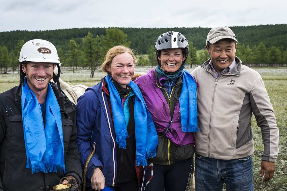 William Comiskey, Heidi Telstad and Marcia Hefker Miles with Event Manager Unenburen after winning the Mongol Derby 2016