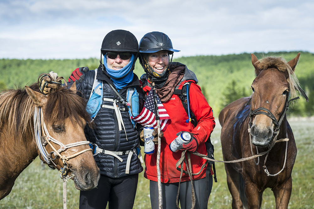 Kelly Hale and Marie Griffis after completing the Mongol Derby 2016