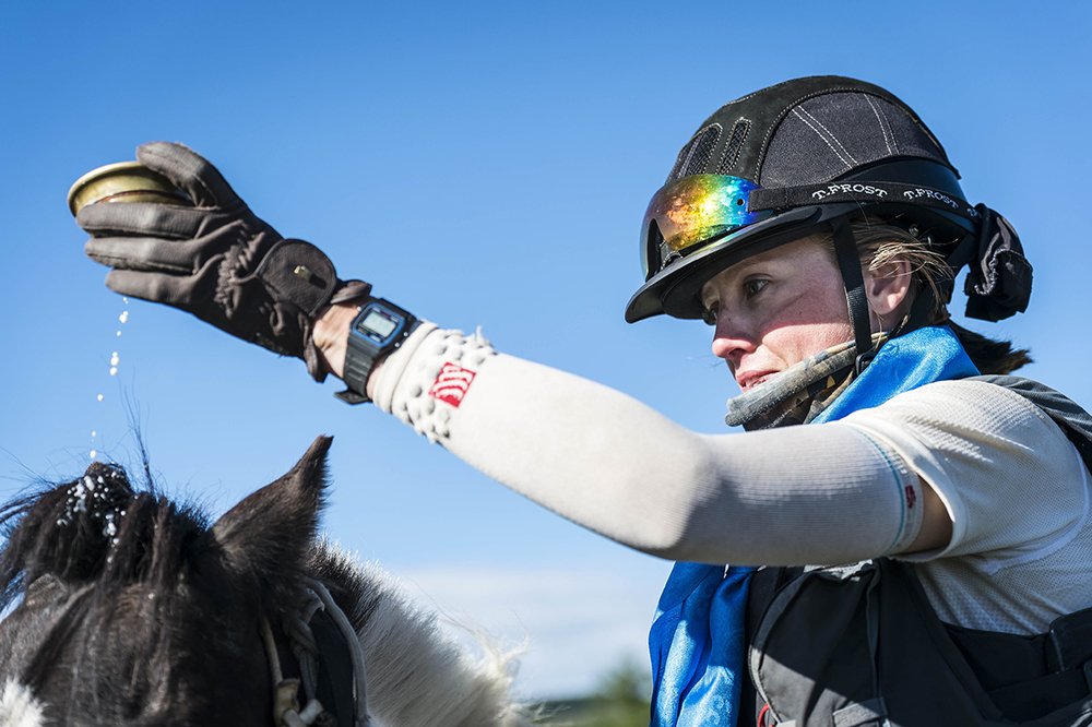 Rosie Bathurst pours mare's milk on her mount after completing the Mongol Derby 2016