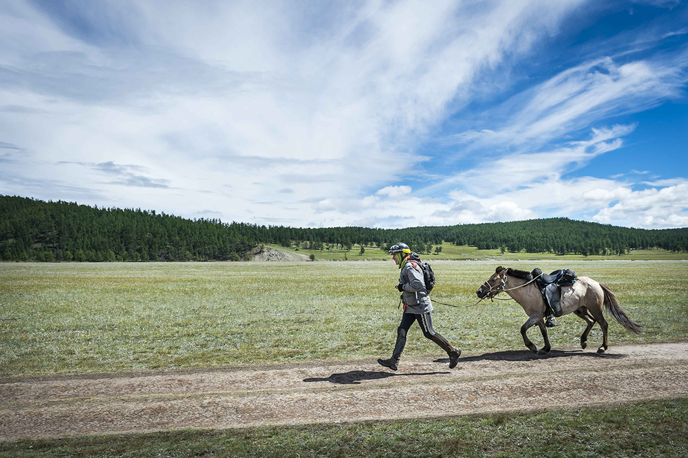 Mike Becker runs his horse to the line of the Mongol Derby 2016
